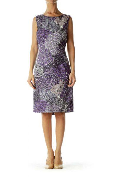 Purple Sleeveless Print Dress