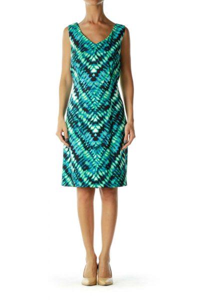 Green Sleeveless Print Dress