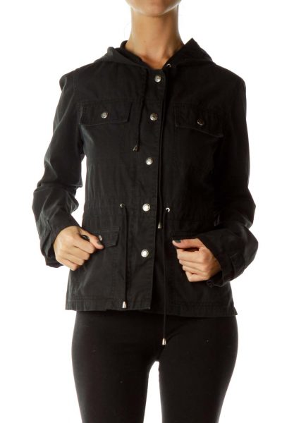 Black Hooded Denim Jacket