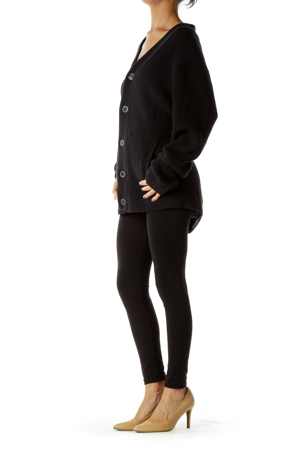 Black Knit Buttoned Cardigan