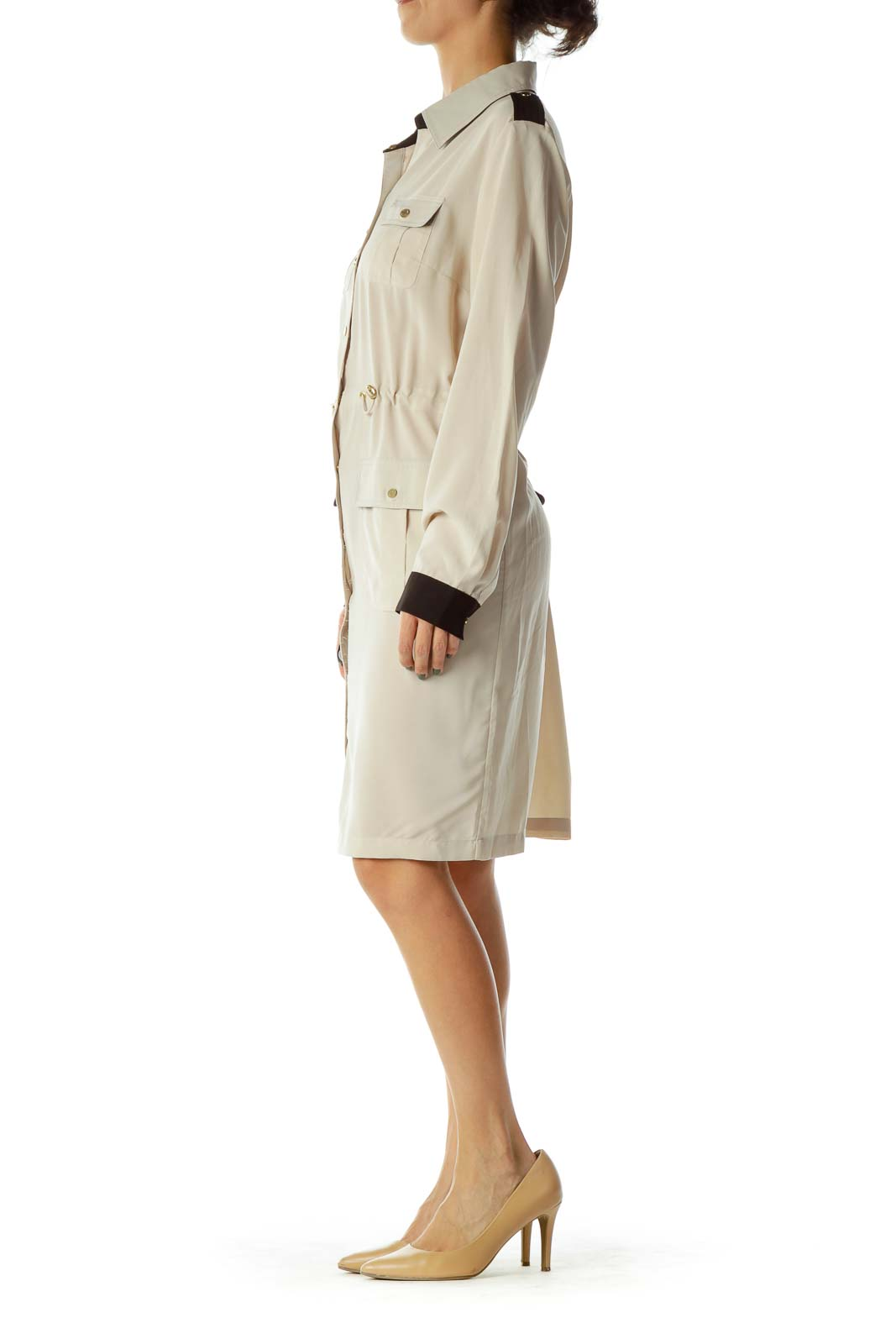 Beige/Black Shirt Dress