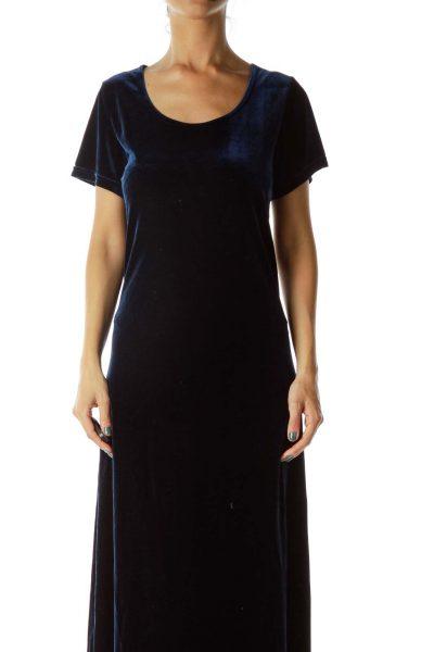 Navy Velvet Maxi Dress