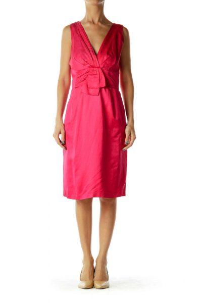 Pink Sleeveless V-Neck Dress