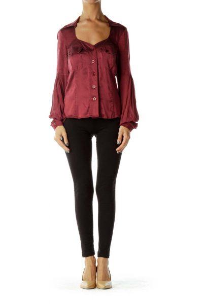 Burgundy Sheer-Sleeve Shirt