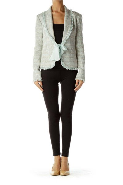 Beige Tweed Blazer w/ Frills