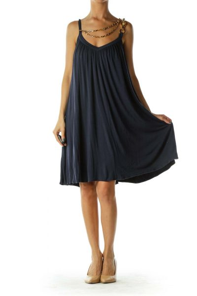 Navy Chain Sleeveless Dress