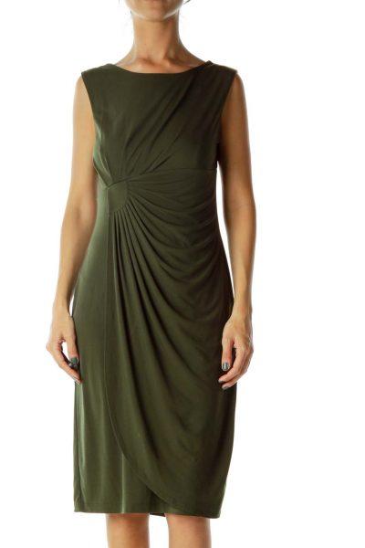 Dark Green Ruched Dress