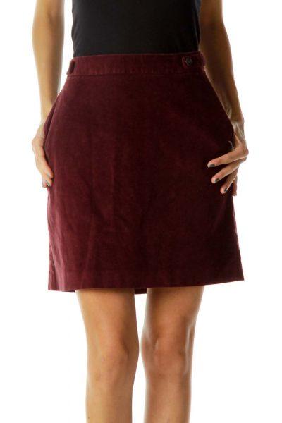 Burgundy Corduroy Skirt