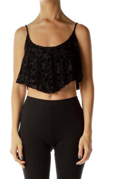 Black Velvet Floral Crop Top