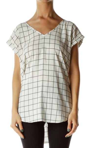 White/Black Checked V-Neck Shirt