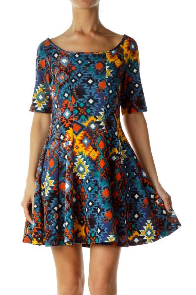 Tribal Print A-Line Dress