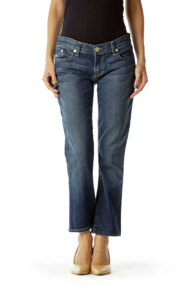 Navy Stitched Pocketed Straight-Leg Jeans