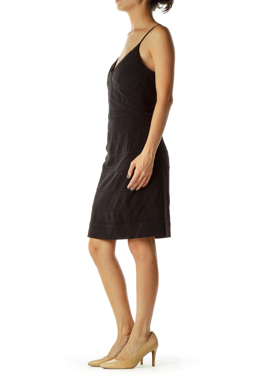 Black Stitched Bodycon Cocktail Dress