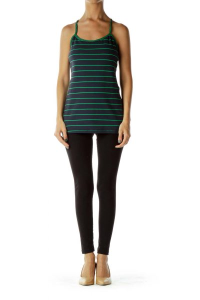 Navy Green Striped Spaghetti Strap Top