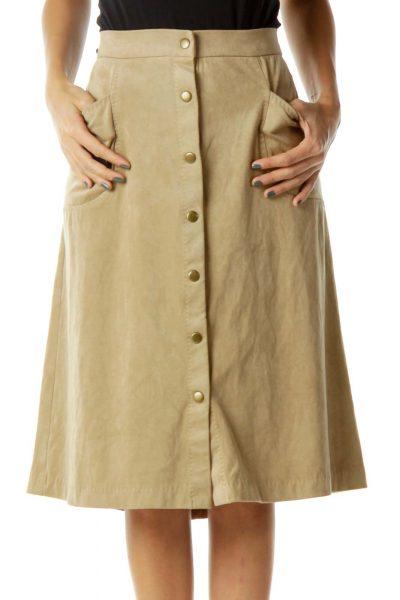 Tan Buttoned Skirt w/ Pockets