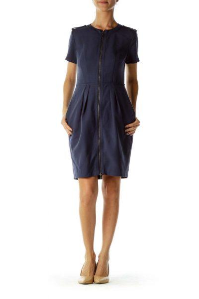 Navy Short-Sleeve Zippered Dress
