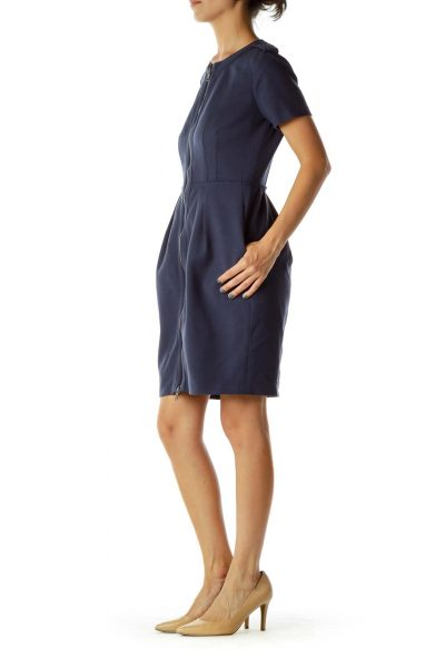 Navy Short-Sleeve Zippered Dress