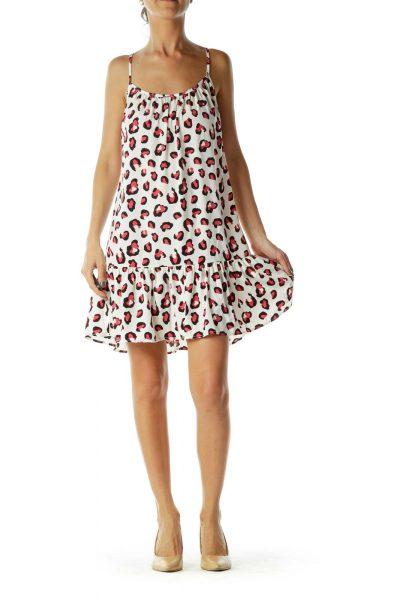 White Pink Leopard Shift Day Dress