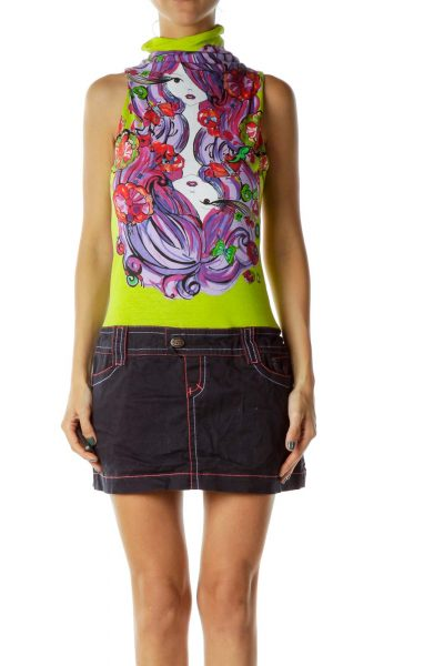 Multicolor Denim Drawing Dress