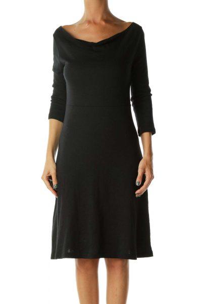 Black Stretchy Cotton Jersey Dress