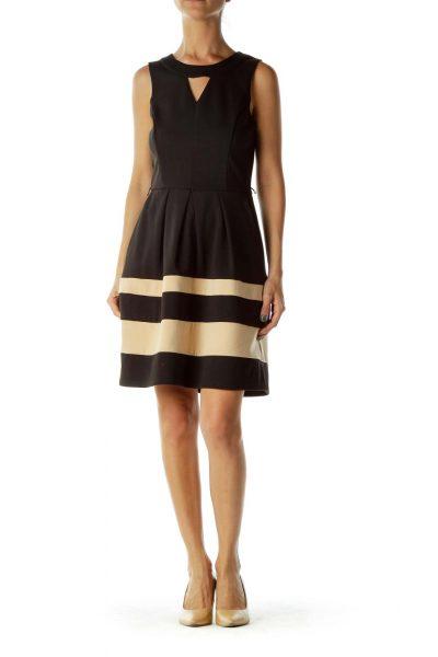 Black/Biege Sleeveless Dress