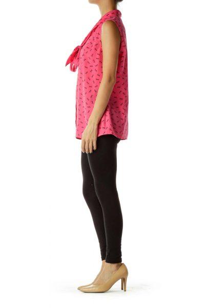 Pink Black Bow Print Blouse