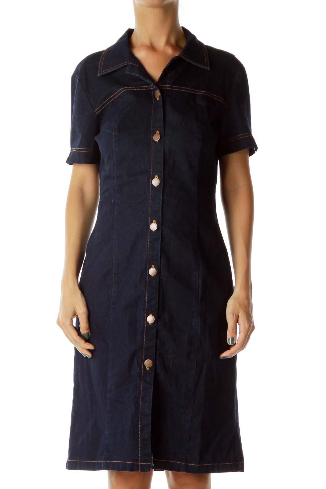 Navy Denim Buttoned Dress