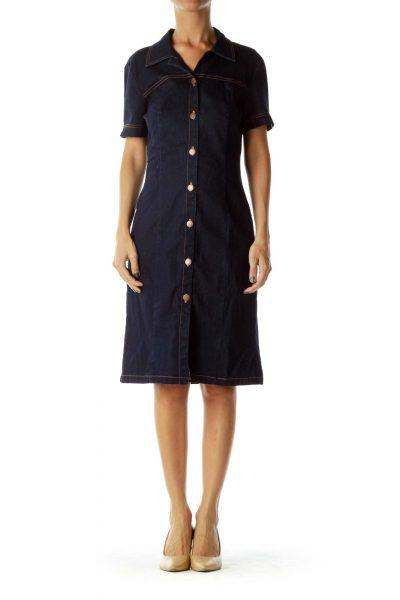 Navy Denim Buttoned Dress