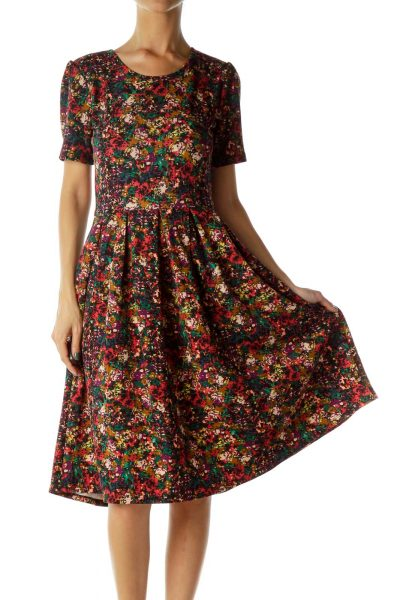 Multicolor Print Knit Dress