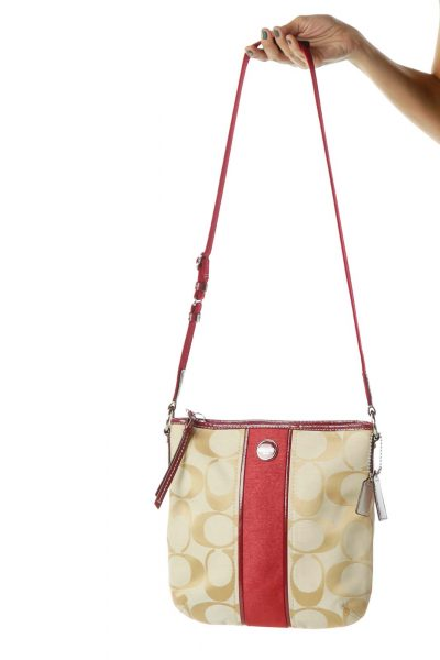 Red Beige Monogrammed Crossbody Bag