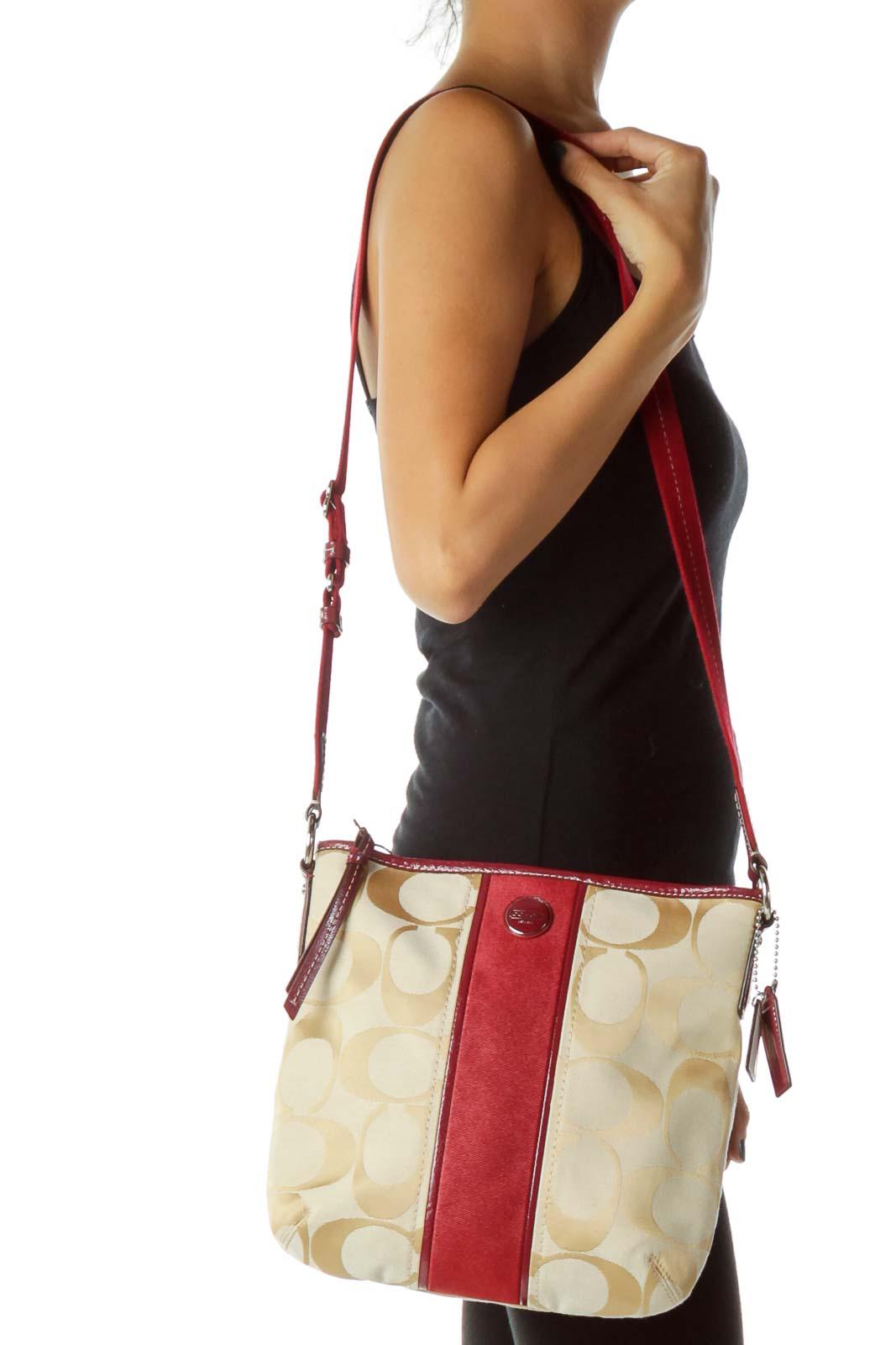 Red Beige Monogrammed Crossbody Bag