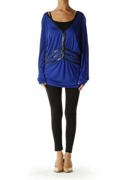 Blue Black Beaded Blouses