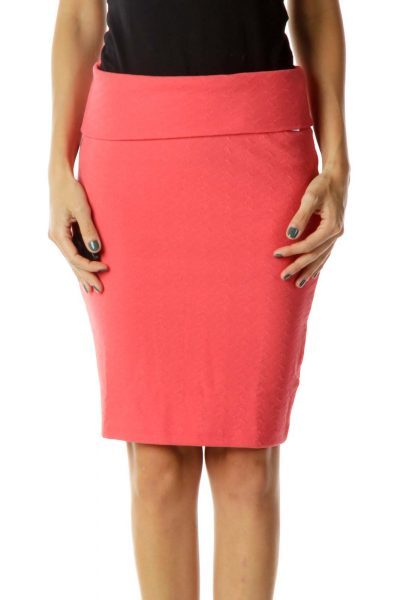 Pink Fitted Pencil Skirt