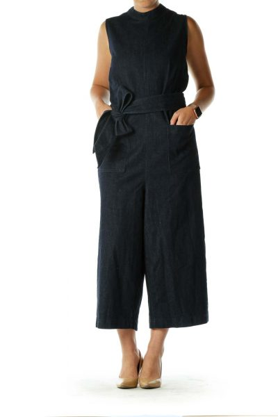 Blue Denim Sleeveless Jumpsuit