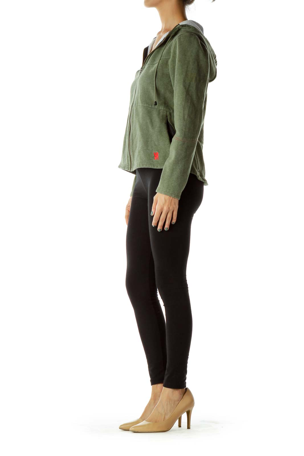 Green Hooded Zippered Sweater