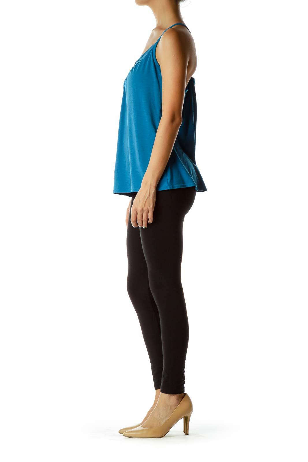 Blue Racerback V-Neck Yoga Top