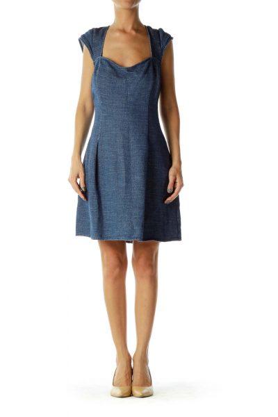 Blue Gold Metallic Knit Dress