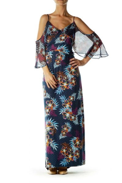 Blue Multicolor Printed Maxi Dress