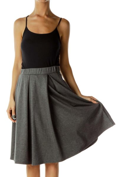Gray Knit Pleated Skirt