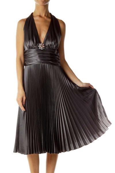 Gray Pleated Satin Halter Evening Dress