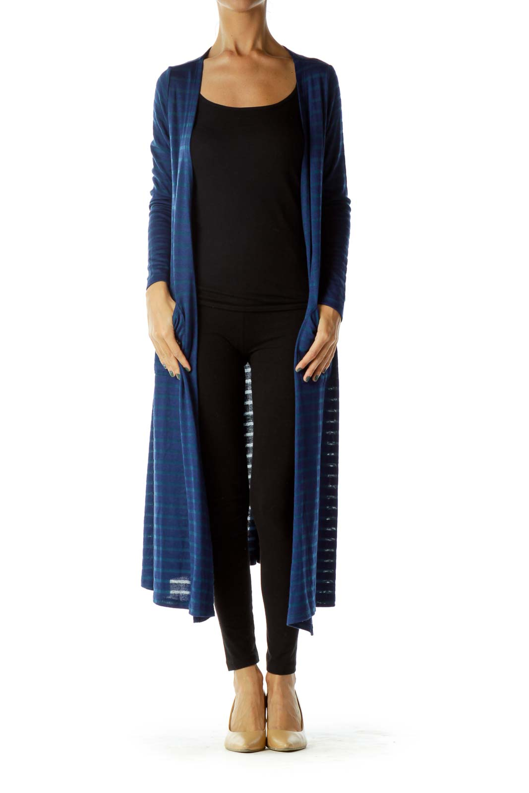 Blue Green Long Striped Sweater
