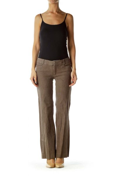 Brown Wide-Leg Slacks
