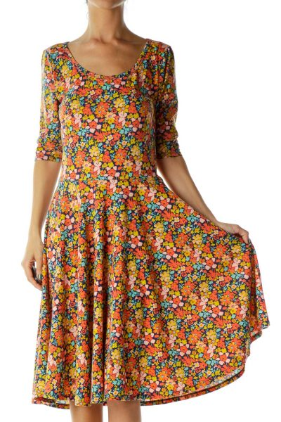 Multicolor Floral Print Empire Waist Dress