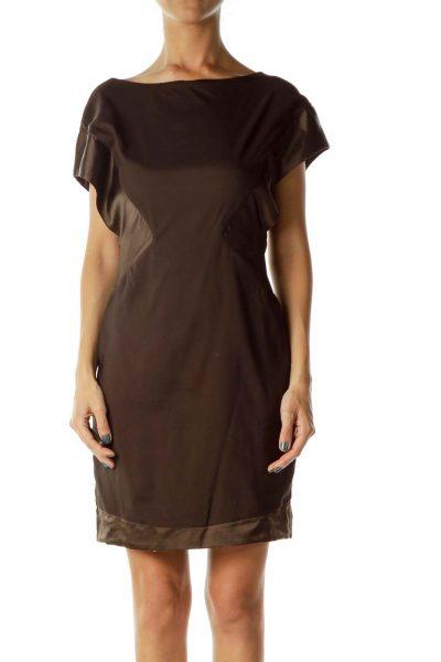 Brown Satin Detail Dress