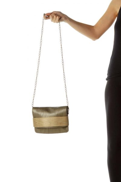 Gold Two-Tone Metallic Crossbody Bag