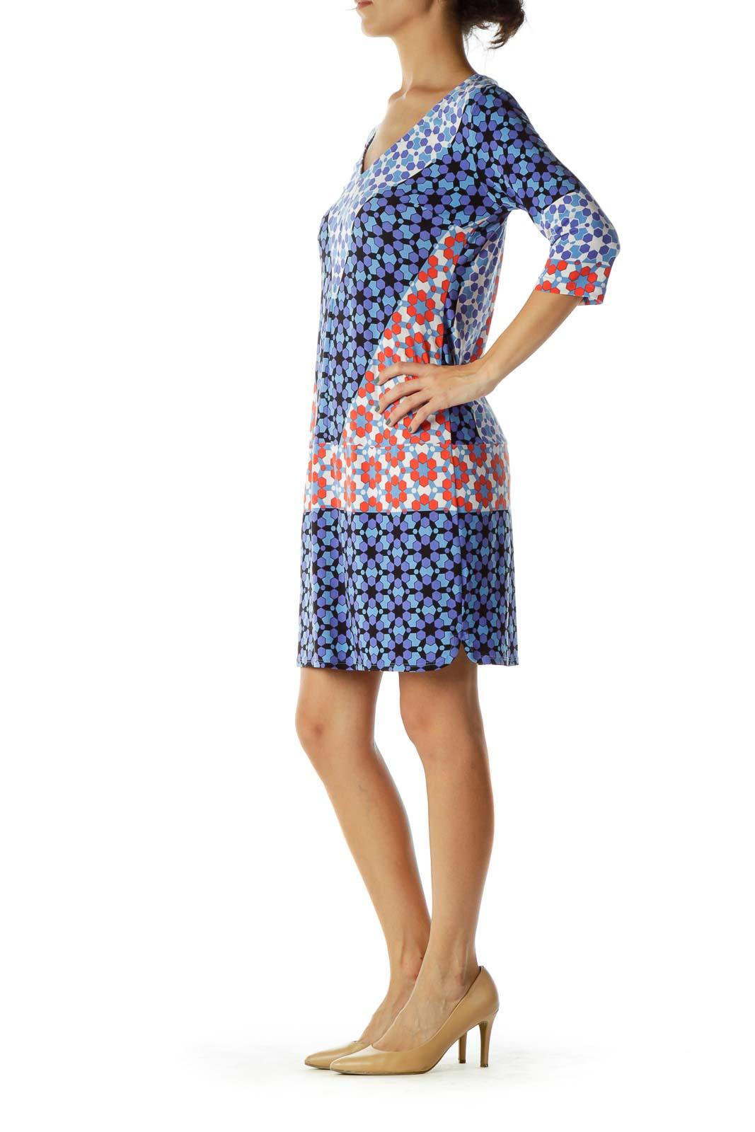 Blue Multicolor Geometric Print Shift Dress