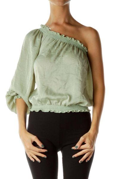 Green Satin One Sleeve Blouse