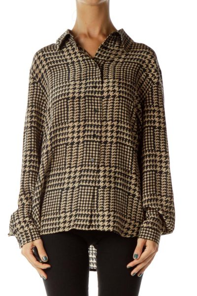 Brown Black Houndstooth Blouse