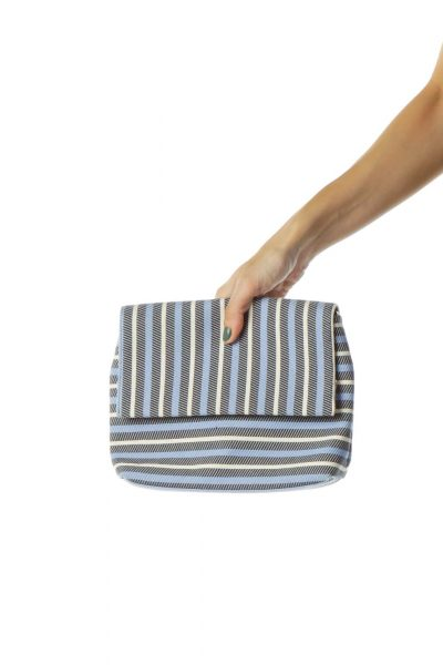 Blue Black Crossbody Striped Bag