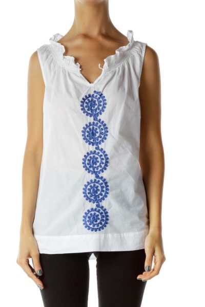 White Blue Embroidered Sleeveless Blouse